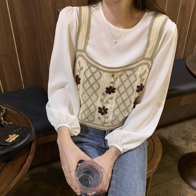 Vintage Flower Stem Embroidery Knitting Vest