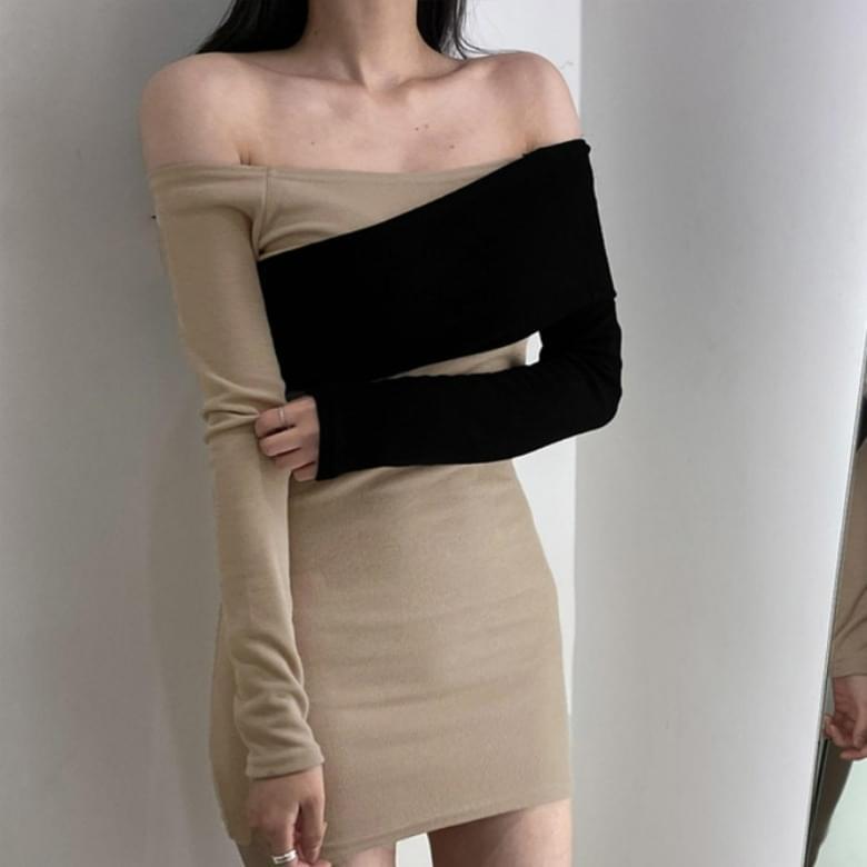 Simple Off Shoulder Color Matching Slim Dress
