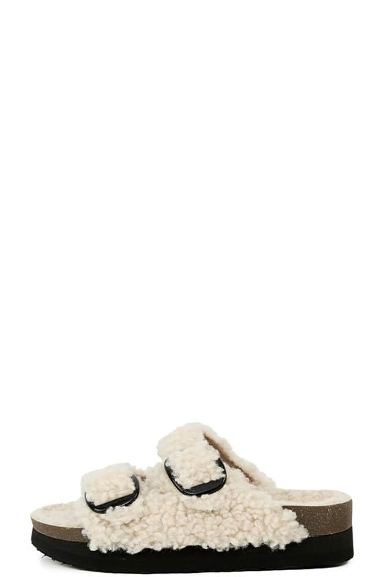 Curly shearling two-strap sandals