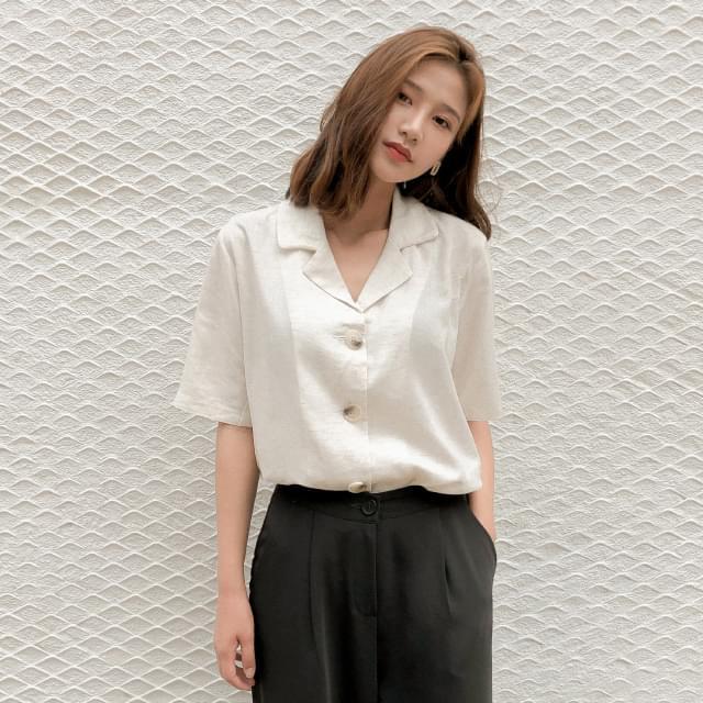 Open collar linen jacket blouse