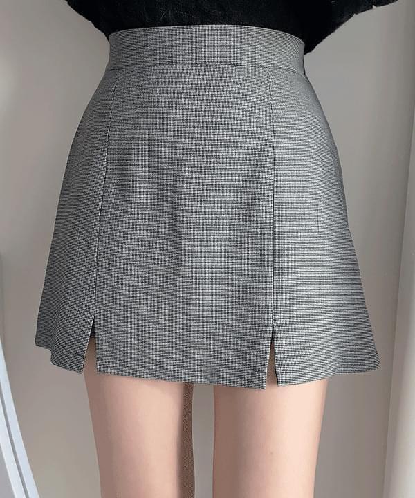 Grooming check slit skirt pants 2color