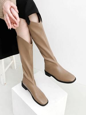 Western Style Square Nose Back Zip Tassel Low Heel Long Boots 11106 ♡Second Sold Out♡