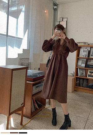 Suede Knitwear Flare Long Dress