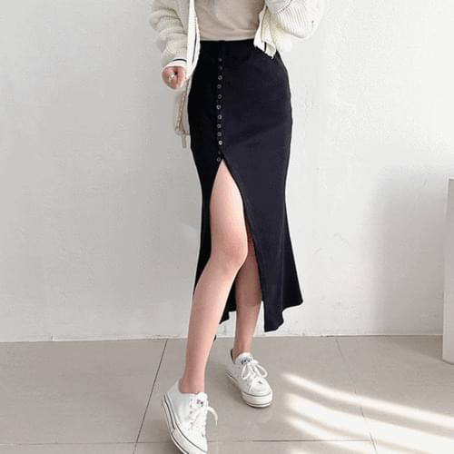Button Unfooted Ribbed Ripped Mermaid Skirt