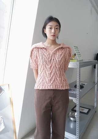 wide sailor collar knit top