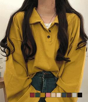 레트로 카라 오버핏 긴팔 티셔츠