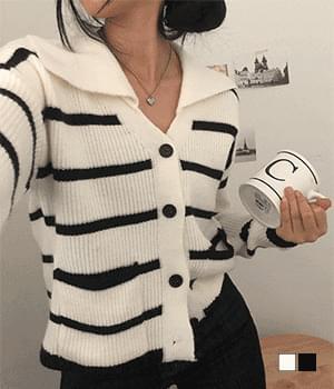 Big collar cardigan Striped pokdak