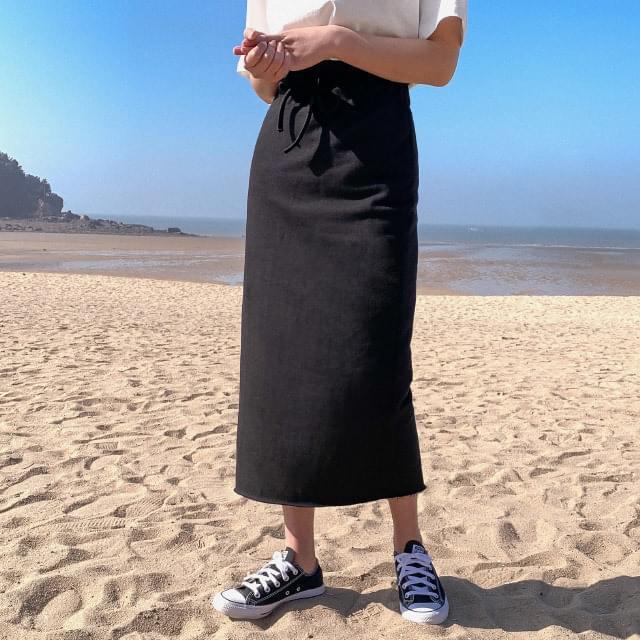 Hem-cutting Long skirt