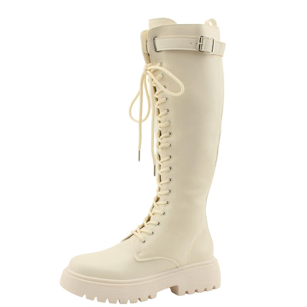 Buckle Strap Walker Flat Long Boots Beige