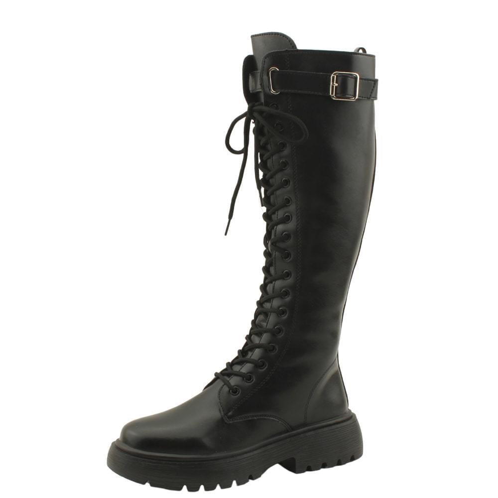 Buckle Strap Walker Flat Long Boots Black