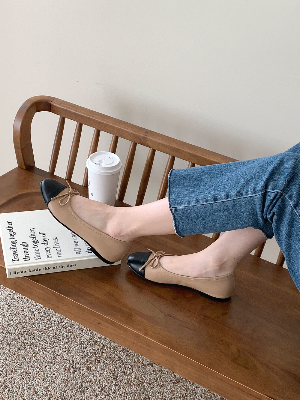 Soft Ribbon Color Flat Shoes 1cm