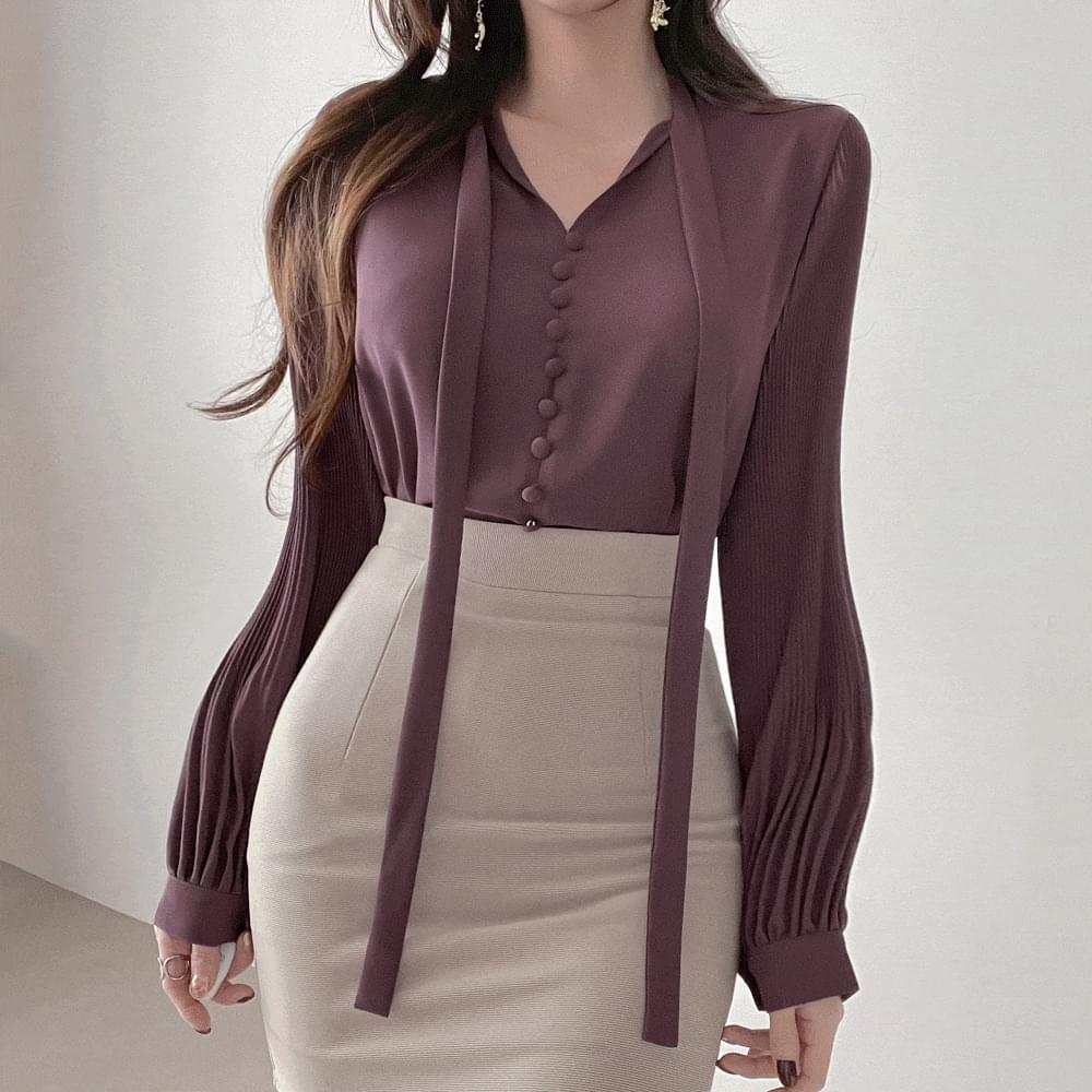Collarbone goddess Yeori fit V-Neck bean button thin tie shirring chiffon blouse 3color