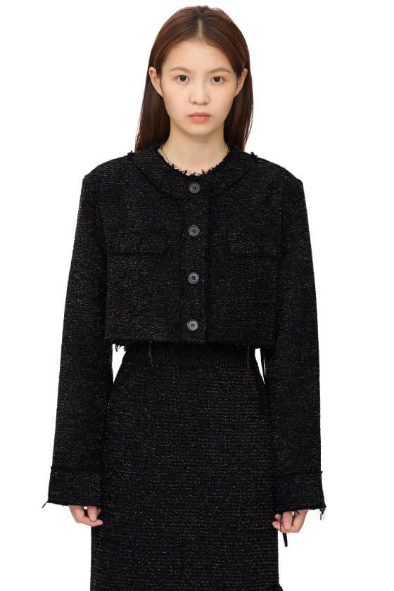 Authentic wool cropped tweed jacket