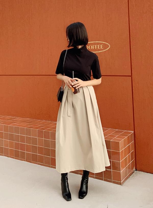 belt pleated long skirt