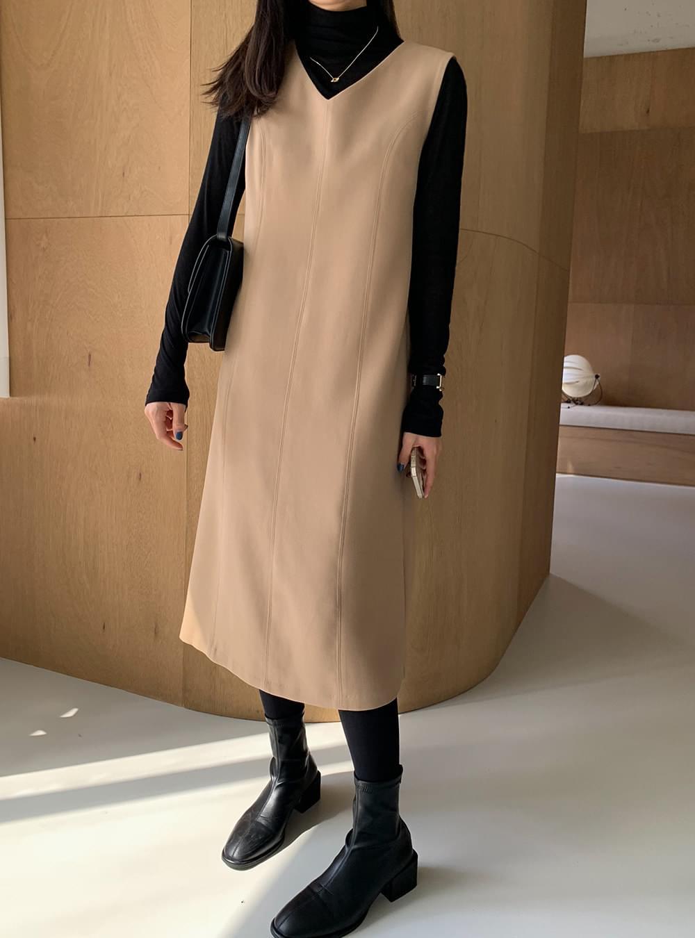 My-littleclassic stitch A-line Split Dress 及膝洋裝