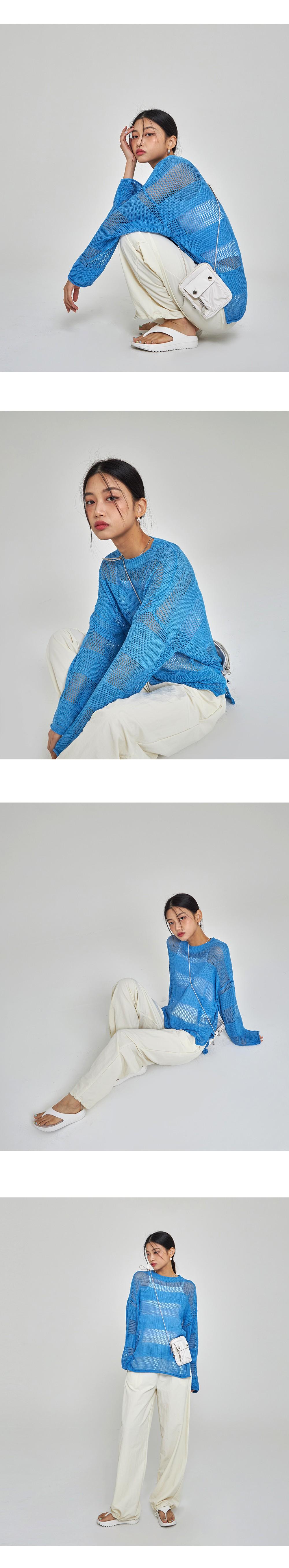 Striped Side Slit Knitwear