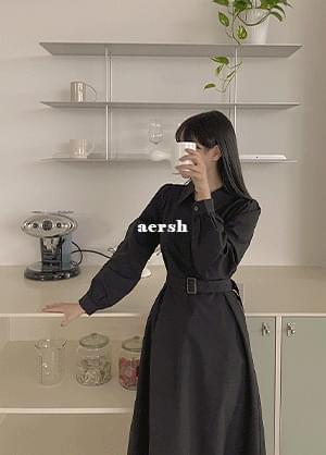 Arshe open collar puff belt long Dress