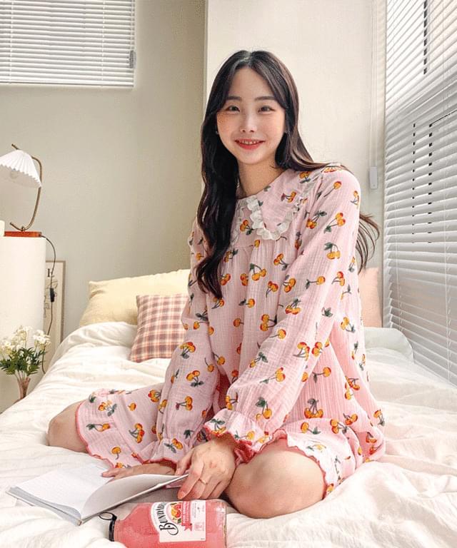 Big Size 55-88 Cherry Ruffle Pajama Long Dress