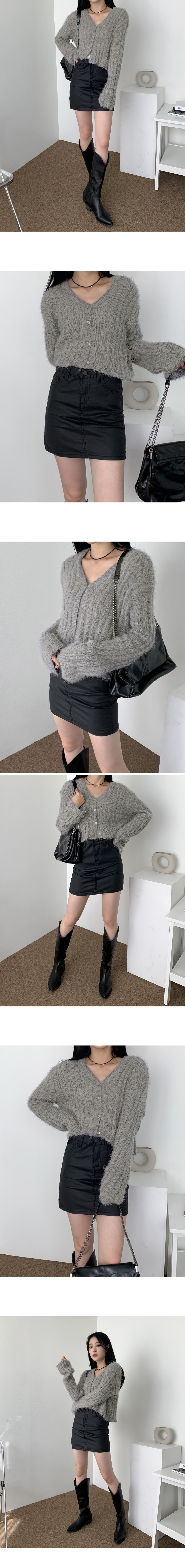Rev Fur V-Neck Crop Knitwear Cardigan