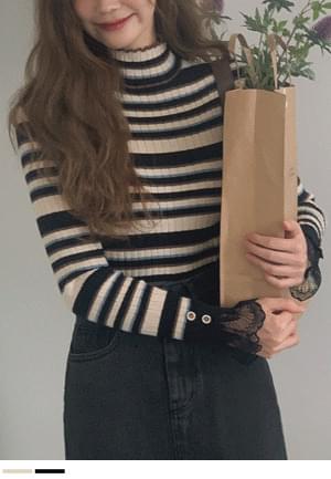 Fresh Ruffle Stripe Knitwear