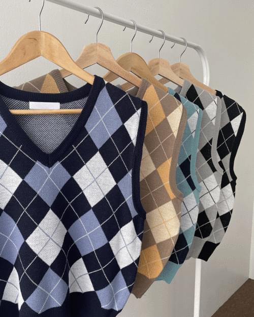Toots Argyle V-Neck Knitwear Vest Vest