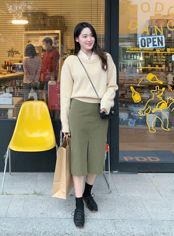 mini pocket slit skirt