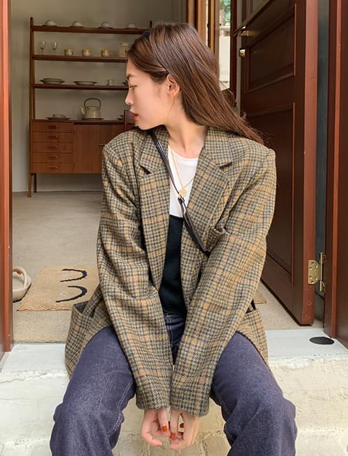 Emma wool check tailored jacket