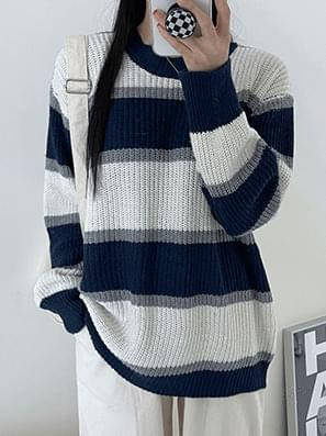 Hachi Color Matching Striped Loose-fit Knitwear