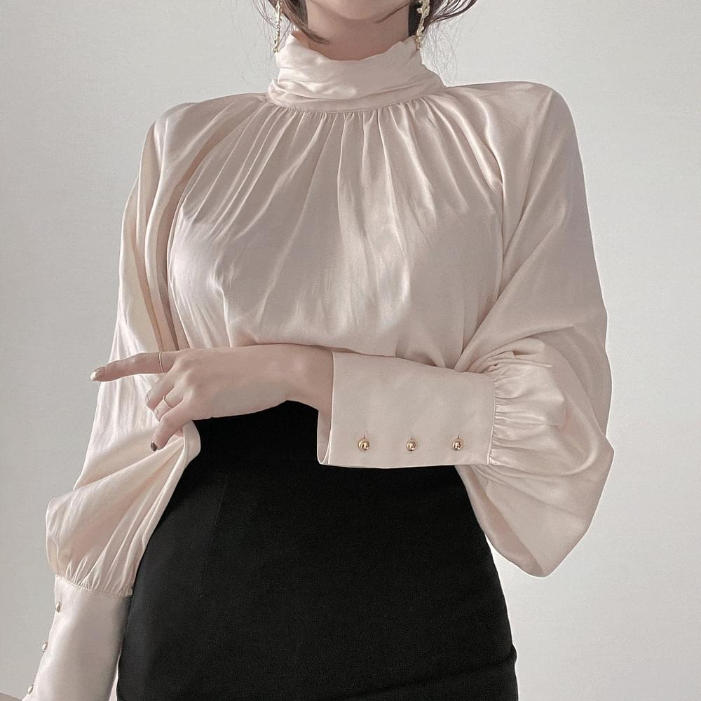 Gorgeous Silky Shining Cuffs Half Neck Pearl Shirring Shatin Blouse 2color