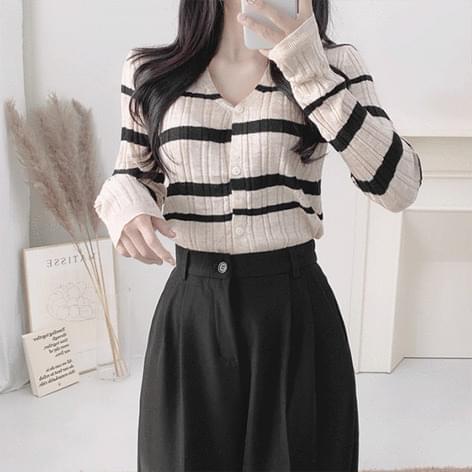 Karing Ribbed striped cardigan Knitwear 針織外套
