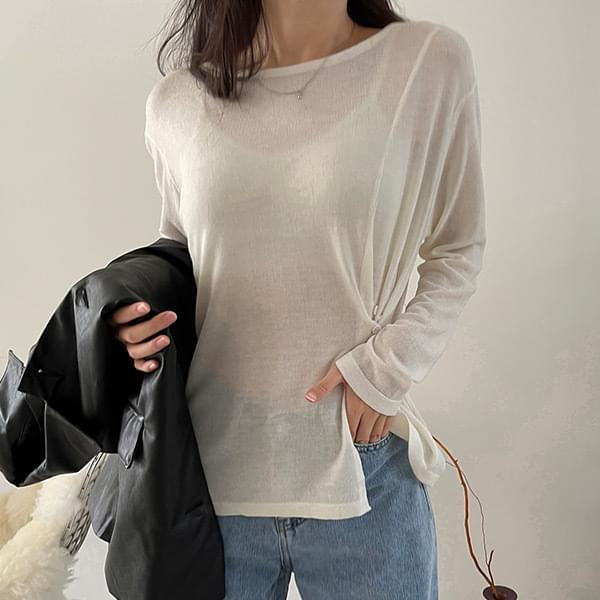 Lovely Round Slit Button Long Sleeve Knitwear - 3color