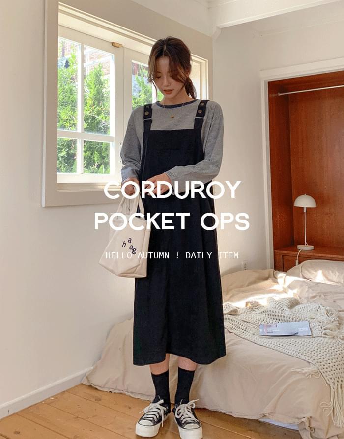 Golden Pocket Suspenders Dress