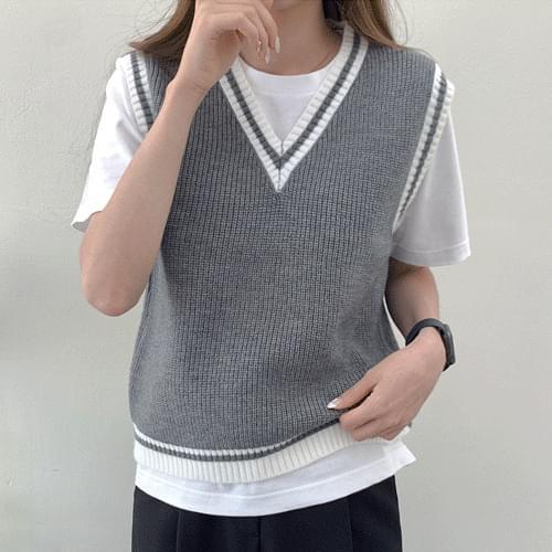 Solid Color Matching V-Neck Best Knitwear Vest T#YW826