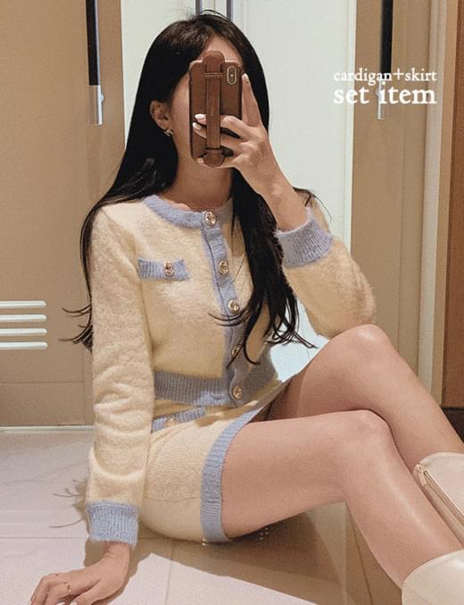 Humming color Knitwear cardigan + mini skirt