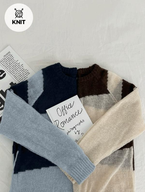 Sweet Dream Round Diagonal Big Striped Knitwear