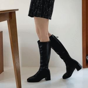 Cow Leather Long Boots 5cm