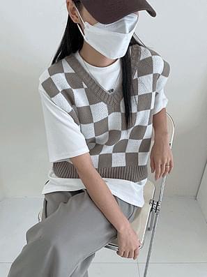 Border Check Crop Knitwear Vest