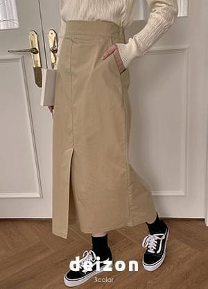 Dayn Cotton Back Banding Split Front Long Skirt