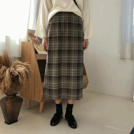 Ritz check long skirt