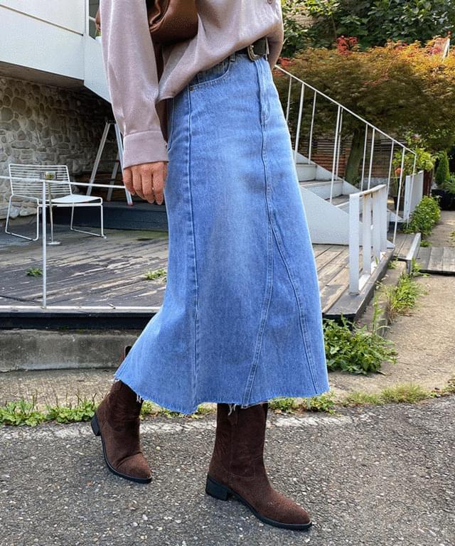 povel Split denim long skirt