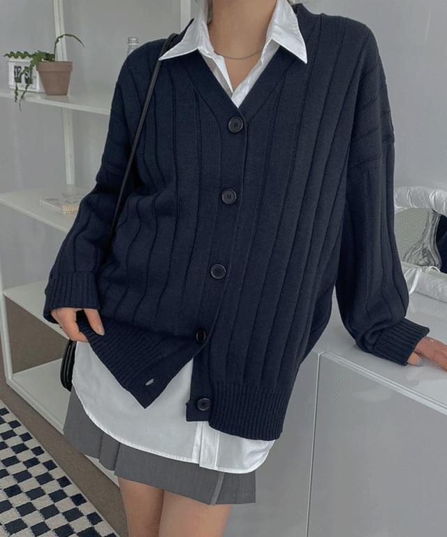 Linder V-Neck Overfit Knitwear Cardigan