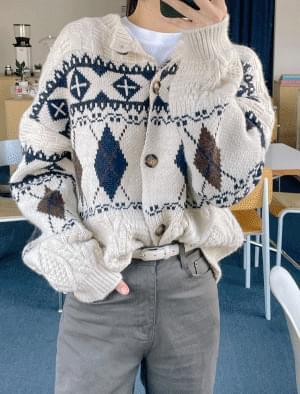 Once Argyle Wool Cardigan
