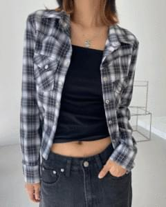 slim pocket check long sleeve shirt