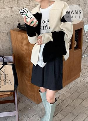 cd6336 boarding color matching zip-up cardigan