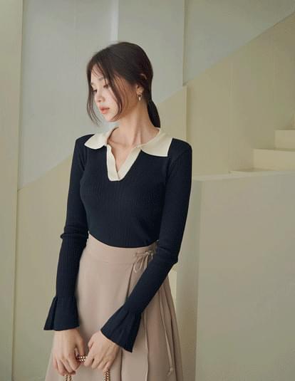 Rayenne Color Matching Collar Knitwear
