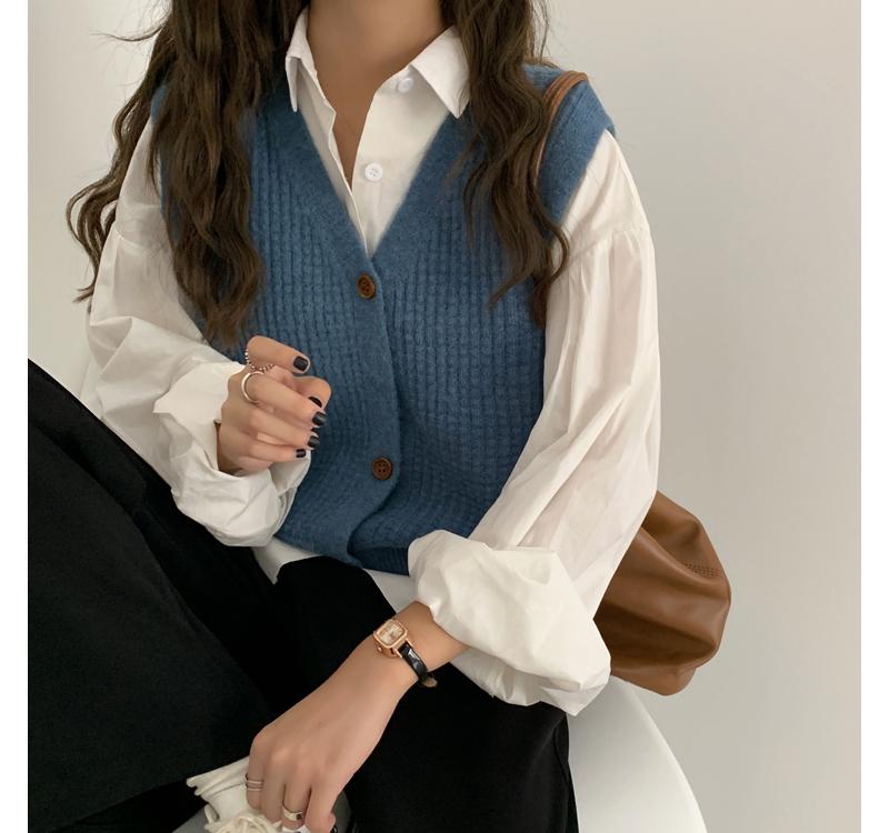 VT5707 Joanna Waffle Weave Vest Cardigan