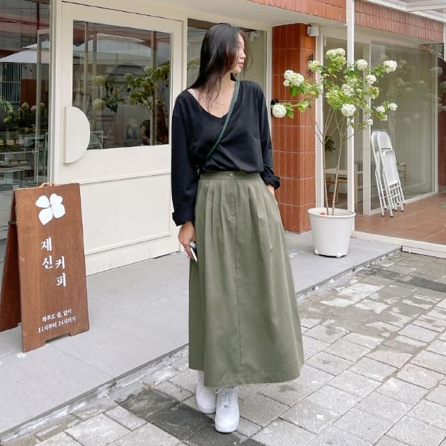 Pauling back banding pintuck long skirt
