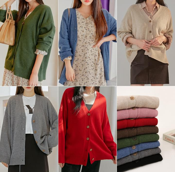 Wool Blend Button-Up Knit Cardigan WITH CELEBRITY _ LEE YEONHEE