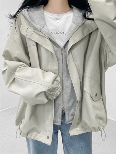 Casual Flavor Hooded Layered Jacket