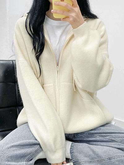 Warm Day Knitwear Hood Zip Up
